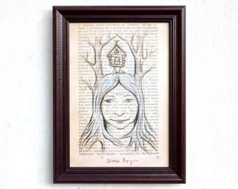 Woodland woman print, Vintage book page art, fairytale art, Woodland art, Russian fairytale, Nature woman print, woodland print, Baba Yaga