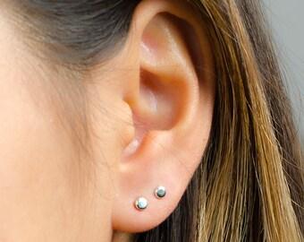 Mini Dot Stud Earrings, Sterling Silver, Gold Plated, Tiny Circle Post Earrings, Minimal Studs,  Gift under 20USD, Lunai, STD065