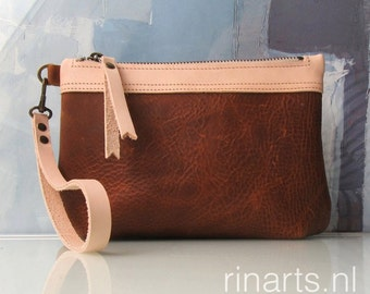 wristlet / Clutch / leather zipper pouch / leather bag organizer  in cognac pull up leather and natural leather