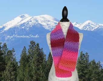 Women's Handmade Wool Scarf. Kaleidoscope Tropic Sherbet Wrap and Tuck Cowl Scarf. Made in Montana. Ready to Ship.