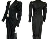 Glamorous Vintage Black Bill Tice Evening Dress - Circa 1980s - Little Black Dress - FREE SHIPPING IN U.S