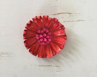 Vintage 60s Brooch/ 1960s Enamel Brooch/ Red 3D Enamel Brooch with Fuchsia Pink Center