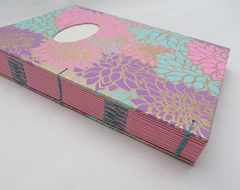 Oriental journal, A5, notebook, coptic, pink, turquoise, thick,