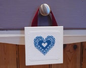 Blue Teal Heart Hanging Mini Home decor Cross Stitch Valentines Anniversary