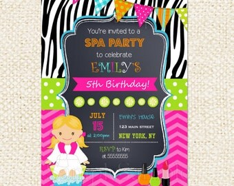Spa Birthday Party Invitation, Spa Party, invite, sleepover,spa birthday invitation,