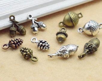 30pcs Mixed Mini 3D Pineal Fruit Acorn Nut Pine cone Charm Pendant