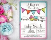 Gender Reveal Invitation, Cupcake or Stud Muffin, Bun in the Oven Gender Reveal, DIY Printable Baby Invitation, Personalized, Studio Veil