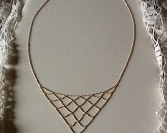 Vintage 14k Gold Bib Necklace Faceted Beads Unique Fine Jewelry Must See