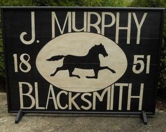"42"" x 30"",  J. Murphy,  Blacksmith, Trade Sign, Wood, Horse, Sign, Folk Art, Primitive, Hand Painted, J Murphy"