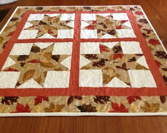 Fall Autumn table topper, fall table decor, Quilted fall table topper