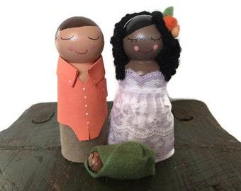 Baby Shower Cake Topper Custom Mama, Daddy & Baby Cake Topper Dolls (Baby Shower Cake Topper) (Family Peg Dolls)