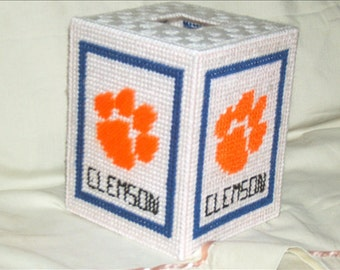 Clemson Tissue Box Cover Plastic Canvas Pattern