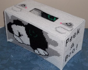 Peek-A-B00 Kitty Large Tissue Box Cover Plastic Canvas Pattern