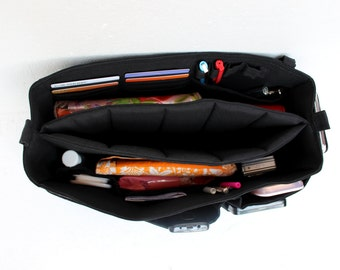 Extra Large Purse organizer with laptop padded compartment - Bag organizer insert with laptop divider in Black fabric