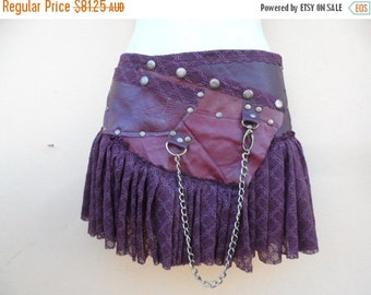 """20% OFF BURNING Man leather skirt belt with dog clip & with pocket ...26"""" to 34'' hips or waist..."""