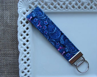 Wristlet /  Key Chain - Breast Cancer Ribbons on Paisley