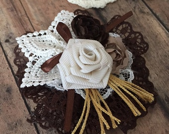 Vintage Style Ribbon Lace Ivory Cream Shabby Rose Flower Pale Hair Clip or Headband