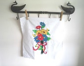 On Sale Vintage Shop Spring Floral Crewel Embroidery Red Yellow Decor Retro Living