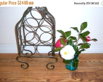 New Orleans Wine Rack Ornate Tall Green Brown Metal Patina 5 Bottle Holder Vintage Apartment Vintage Wrought Iron