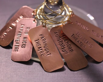 6 Hand Stamped Colorado Concert Wine Charms / unique hostess gift / unique wedding present / colorado gift / music lover