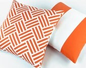 Chevron Orange and White Throw Pillow Cover with Horizontal Wide Stripes 20x20, Geometric, Bold Cotton Pillow, Zipper, Bold & The Beautiful