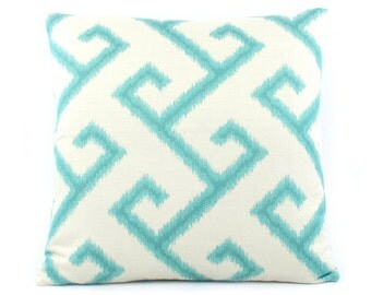 Sunbrella El Greco Outdoor Pillow Cover 20x20, Turquoise Outdoor Pillow, Blue Outdoor Pillow, Greek Key Pillow, Pacific Coast
