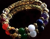 Chakra Bracelet, Chakra Bangle, Energy Jewelry, 7 Chakra Bracelet, Yoga Jewelry, Reiki Charged Jewelry, Gemstone Chakra Bracelet, Gold Plate