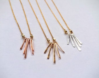 NEW || Tiny Fringe Necklace - Gold, Rose Gold, Silver Hammered Necklace