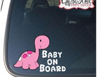 "Baby Long Neck Dinosaur ""BABY ON BOARD"" Pink, Green or Blue Vinyl Sticker"
