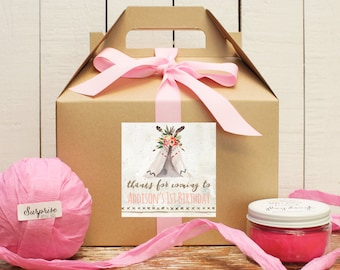 Boho Birthday Goody Boxes - Teepee Birthday Party - Teepee Label Design | Party Favor Box | Kids Party Favor Box | Goody Bag | Set of 6