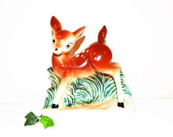 Vintage Deer Planter Kitsch 1950's