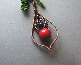 Red Drop Necklace, Bohemian Copper Jewelry, Boho Necklace, Romantic Folk Red Drop Necklace