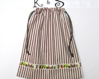 Drawstring Bag Perfect for Children's Treasure/Made Of Brown Ticking Fabric With Adorable Friends Ribbon/Monogrammed Above Ribbon/Fun Unique