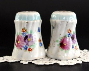 Salt and Pepper Shakers, Hand Painted China, Vintage Salt and Pepper, Made in Japan, 1950s 13185