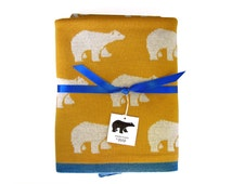 Baby Blanket · 100% Merino Wool Mustard Yellow Throw Blanket · Toddler Blanket · Polar bear print · Soft and lightweight blanket