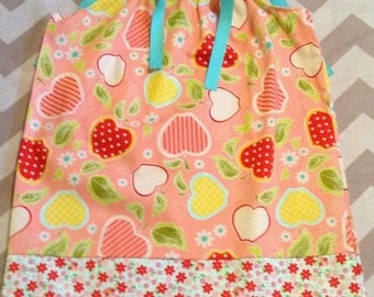 Ready to ship - Pillowcase Dress - Pink Apple - Yellow pink and red - Sizes 2 toddler 5 6 7 8 9 10  Years