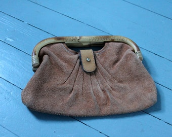 Rock the Town...  Vintage Leather Hand Bag, Purse Leather and Bamboo