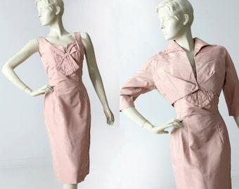 vintage 60s pink cocktail dress with bolero, taffeta wiggle dress
