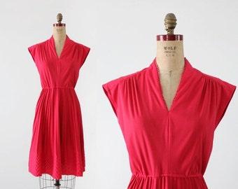 SALE vintage 70s dress,  magenta chevron dress