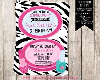 Slumber Party Birthday Invitation - Black and Pink - Zebra Print - Make-Up Party
