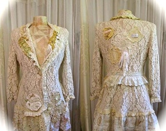 Shabby Lace Jacket, romantic lace victorian shabby so chic, tan beige creme jacket, mori girl jacket, lagenlook jacket MEDIUM LARGE