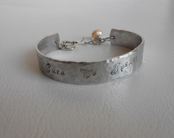 Food Safe Aluminium hand stamped bracelet with freshwater pearl