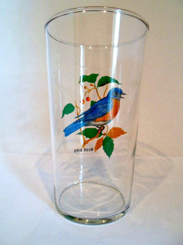 Vintage Blue Bird Large Drinking Glass Vase Bird By