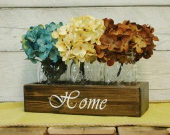 HOME Mason jar caddy , HOME decor, mason jar centerpiece, rustic centerpiece, Bedroom decor, Housewarming gift, wedding gift, stenciled box