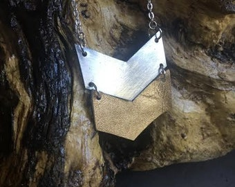 Industrial Recycled Metal / Gold Leather Chevron Necklace