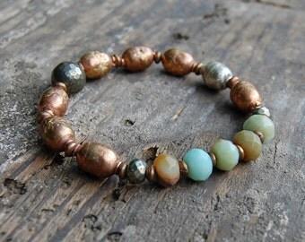 African Prayer Bead & Faceted Amazonite Bracelet
