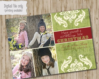 Christmas Photo Card - Customized Holiday Photo Card - Have yourself a Merry Little Christmas