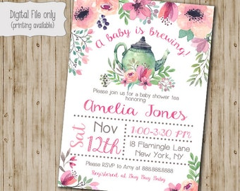 Tea Baby Shower Invitation, Tea Baby Shower, A Baby is Brewing, Watercolor Floral Invitation, Baby Girl Shower Invitation