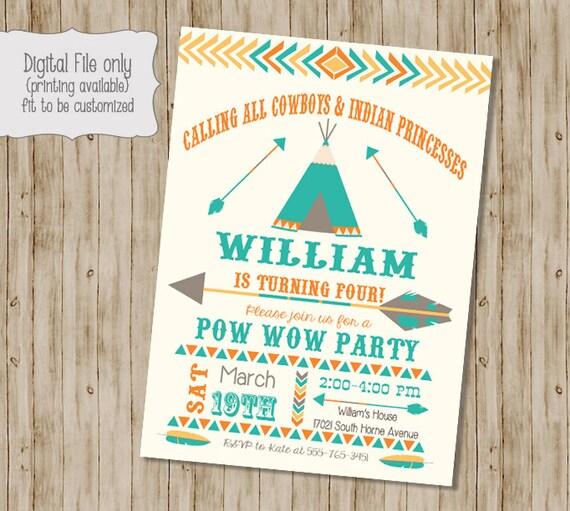 Birthday Pow Wow Invitation Tribal Birthday Invitation Pow