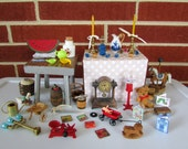 HUGE 50pc Lot of Assorted Dollhouse Cottage Miniatures. Real Metal, Wood, Ceramic, etc.